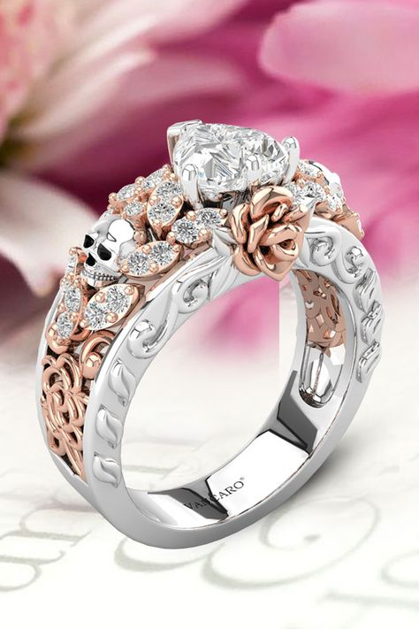 Heart Stone Two Tone Hollow Out Rose With Skulls Engagement Ring