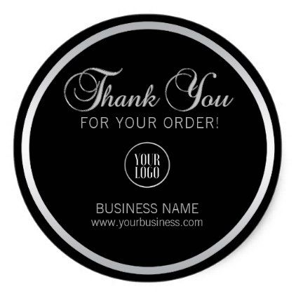 Business Corporate Thank You Silver Add Logo Classic Round Sticker Zazzle Com Corporate Gifts Classy Gift Promotional Gifts