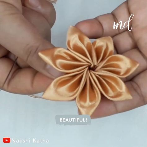EMBROIDED RIBBON FLOWER- EMBROIDED RIBBON FLOWER  Learn how to create a flower using ribbon  -#RibbonFlowerkanzashi #RibbonFlowerrose #RibbonFlowervector #RibbonFlowervideos #tinyRibbonFlower