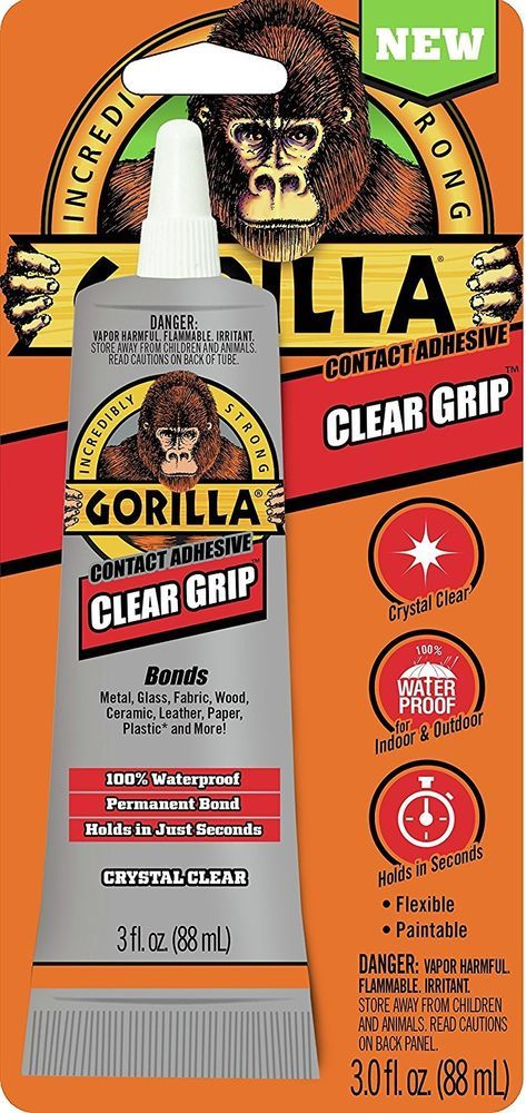 Gorilla Clear Grip Contact Adhesive Waterproof 3 Ounce Clear Pack Of 1 Gorilla