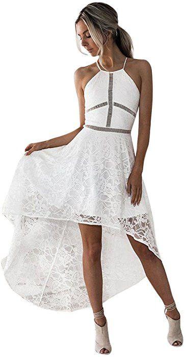 5ccb2f628f1df Women Summer Lace Sleeveless Irregular Cocktail Dress Casual Mini ...
