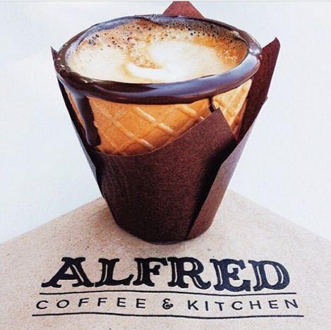Secret Menu For Chocolate Dipped Cone Filled With Espresso