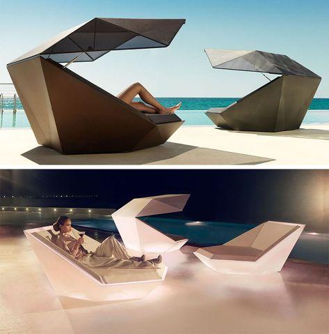 mobilier outdoor design chaise longue faz parasol ramon esteve vondom - Mobilier Exterieur Design