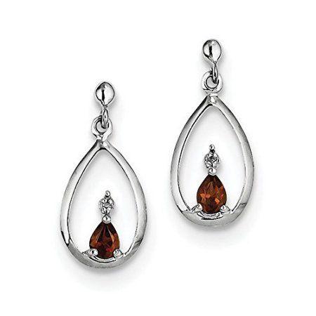 925 Silver Platinum Plated Pear Garnet Lever Back Dangle Drop Earrings Jewelry