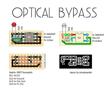 Perf And Pcb Effects Layouts Optical Bypass Synthesizer Diy Electronics Mini Projects Guitar Pedals