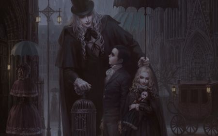 Vampires - boy, luminos, toy, hat, black, vampire, copil, night, child, girl, man, dark, children, cage, lestat, claudia girl