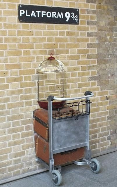 Platform 9 3/4, Kings Cross Station in London. 8/13