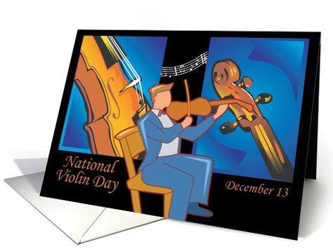 Other card: Violin Day December 13 Greeting Card by Rita Ballantyne
