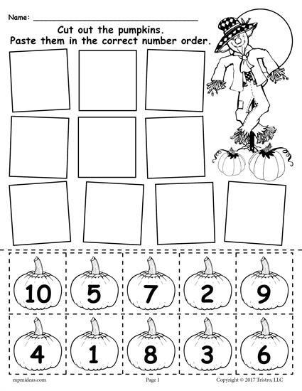 Printable Pumpkin Number Ordering Worksheet 1 10 Halloween Kindergarten Halloween Worksheets Fall Kindergarten