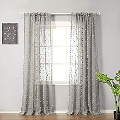 Amazon Com Mysky Home 96 Inch Long Sheer Curtains For Bedroom Rod Pocket Pom Pom Design Voile Drapes For Living Room Gre Curtains White Paneling Lace Curtains 96 inches sheer curtains