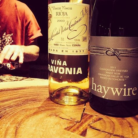 Very unlikely and worthy suitors to my paprika venison chorizo with wild rice dish #Rioja #crianza #2003 and @haywirewine @okcrushpad #pinotnoir #bcwinechat #winewednesday by the_field_guide