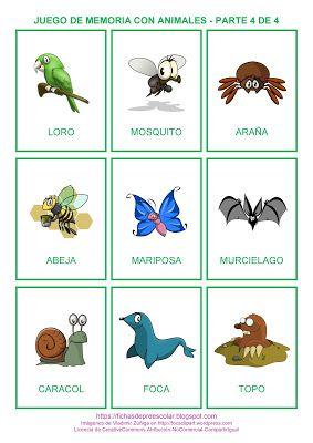 Fichas De Educación Preescolar Juego De Memoria De Animales A Colores Parte 4 D Juegos De Memoria Memorama De Animales Educacion Preescolar