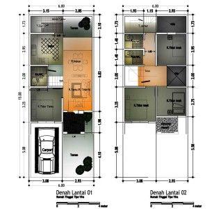 denah rumah type 60 2 lantai lt 90m2   denah rumah, desain