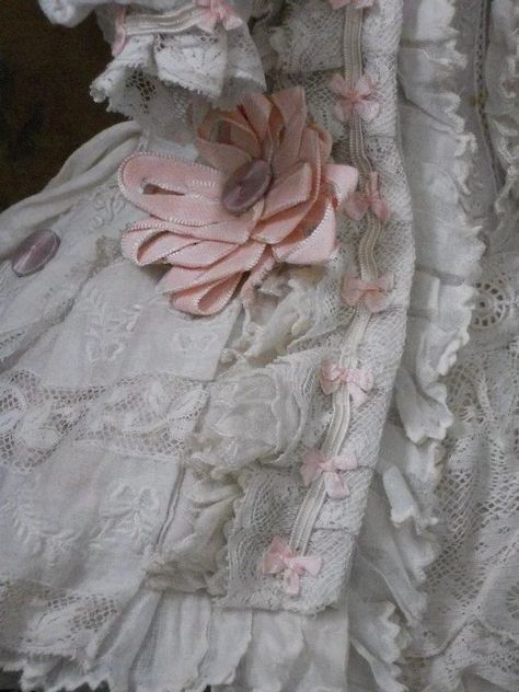 A most beautiful French BeBe antique dress of hand embroidery Muslin and fine French Lace.fit perfect for Jumeau - Steiner - Gaultier - Bru or