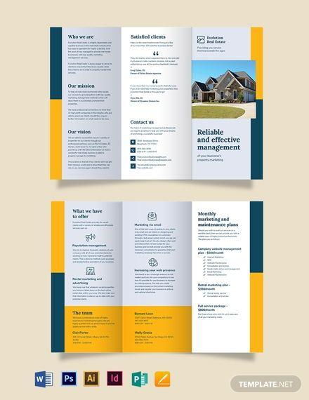 Instantly Download Property Management Marketing Tri Fold Brochure