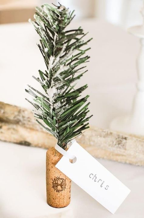 Christmas Name Place Holders Diy Cork Trees Christmas Place