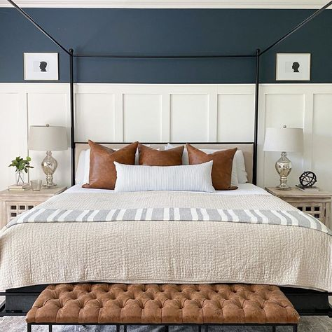 Wall Behind Bed, Bed Wall, Bedroom Wall Colors, Accent Wall Bedroom, Bedroom With White Walls, Interior Wall Colors, Home Bedroom, Master Bedroom, Bedroom Decor