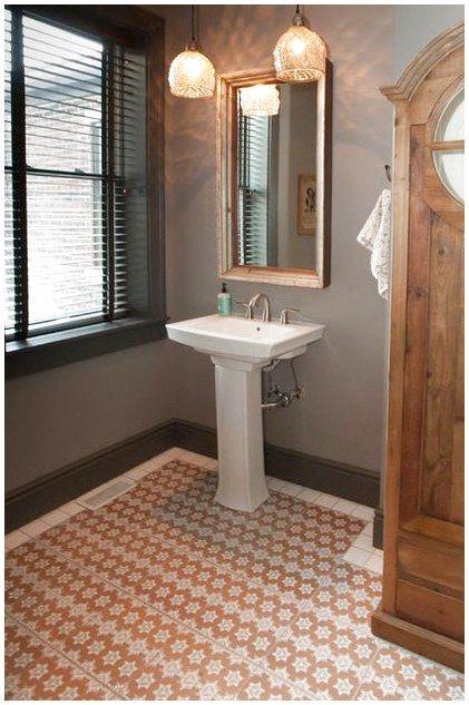 Imported Moroccan Hand Printed Ceramic Floor Tiles By U K Textile Designer Dominic Crinson Moroccan Tile Bathroom Modern Flooring Moroccan Inspired Bathroom