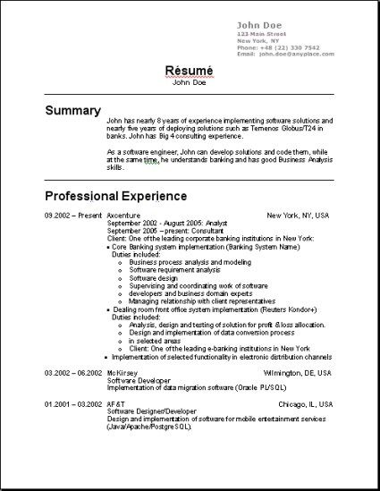 Usa Resume Templates T Sample Resume Resume And