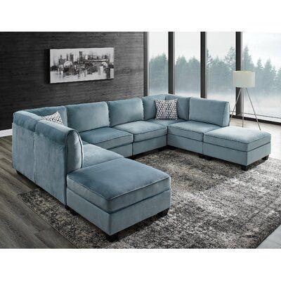 Ivy Bronx Eula 120 Wide Velvet Square Arm Modular Sofa Sectional Sofa Comfy Modular Sectional Velvet Sofa Set