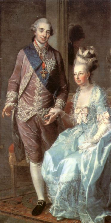 Louis XVI and Marie Antoinette; detail from a portrait of Louis XVI, Marie Antoinette and Archduke Maximilian of Austria by Joseph Hauzinger. Circa 1776.