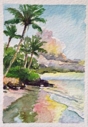 Aceo Vosberg Original Watercolor Mini Tropical Palm Tree Beach Ocean Hawaii Watercolor Trees Beach Watercolor Watercolor Ocean
