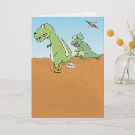Funny Dinosaur Old Fart Birthday Card Getting Old Birthday Party