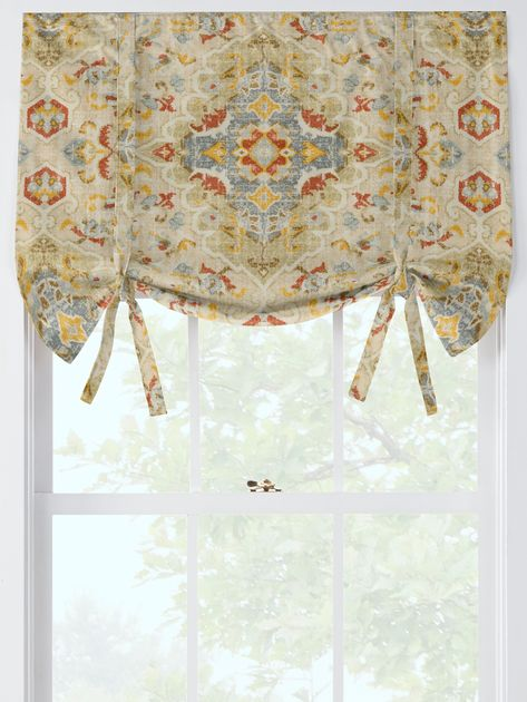 Antiqued Watercolor Tie Up Valance Tie Up Valance Balloon Valance Tie Up Curtains