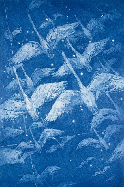 Yölento - Night Flight. Leena Talvitie, 2000. Printmaking, etching, akvatint.