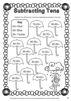 Subtracting Tens Worksheets Subtract 10 From A Two Digit Number