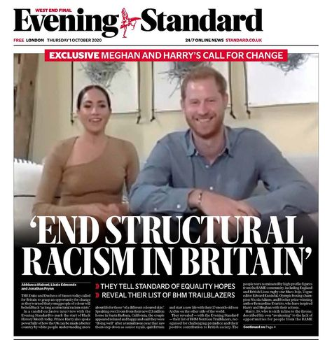 Meghan Markle and Prince Harry Discuss Structural Racism in Interview with Evening Standard - Dress Like A Duchess