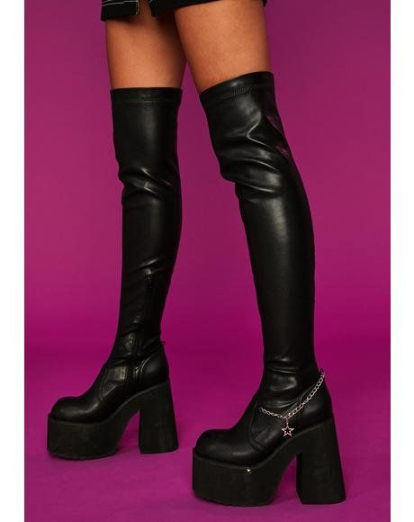 Chunky Heel Platform Boots, Black Platform Boots, Knee High Boots, Black Boots, Heeled Boots, Thigh High Heels, Thigh High Leather Boots, Thigh High Socks Outfit, Chunky Heels