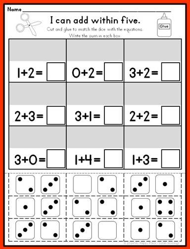 addition and subtraction printables for kindergarten math, common core, ten frames $
