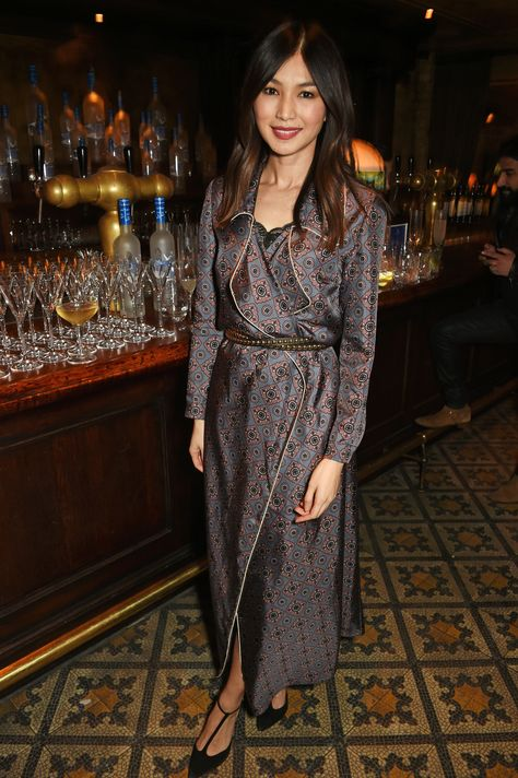 LONDON, ENGLAND - FEBRUARY 10:  Gemma Chan attends a dinner co-hosted by Harvey Weinstein, Burberry