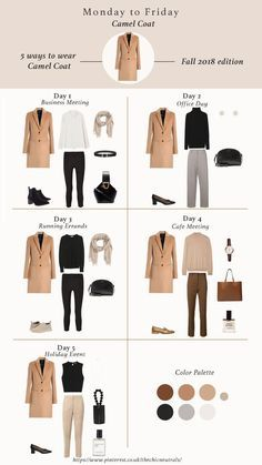 How to style camel coat fall winter 2018 - 5 ways of styling camel coat for fall winter Camel coat outfit winter style. Camel coat casual and classy style. Fall Winter outfits for Fashion Trends Work outfits