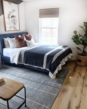 Position Of The Bed Near Wall N The Rug Placement Bed Against Wall Indoor Outdoor Rugs Room