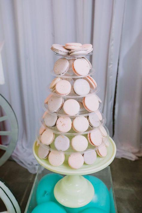 Macaron Tower from a Rainbow Ice Cream Party on Kara's Party Ideas | KarasPartyIdeas.com (18)