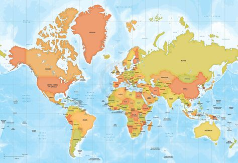 Vector Map World Relief Robinson Europe - fresh world map with all countries vector