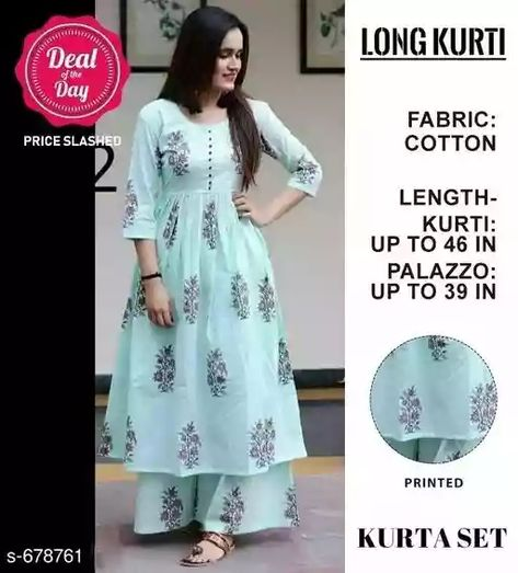 All Time Best Cotton Printed Long Kurti & Palazzo Set Fabric: Kurta - Cotton 40 - 40, Palazzo - Cotton 40 - 40 Sleeves: Kurti - 3/4 Sleeves Are Included Size: Kurti - M - 38 in, L - 40 in, XL - 42 in, XXL - 44 in, Palazzo - 30 in, 32 in, 34 in, 36 in Length: Kurti - Up To 46 in, Palazzo - Up To 39 in Type: Stitched Description: It Has 1 Piece Of Long Kurti With Palazzo  Work: Kurti - Printed, Palazzo - Printed 90185 Disclaimer: Images shown here are for reference purposes only. The Colour of the product received by you may differ what you see in the image.