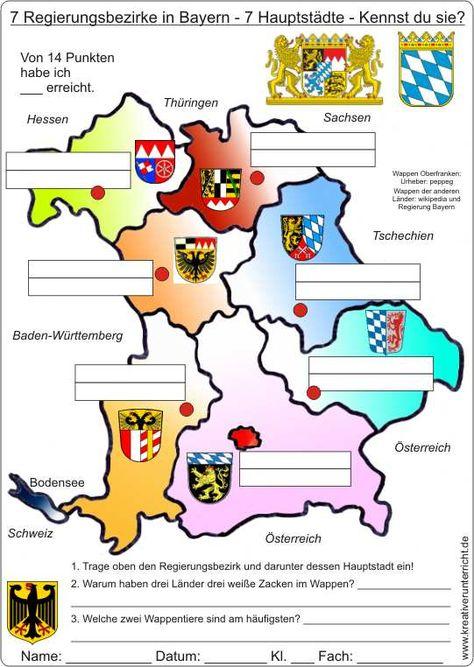 7 Regierungsbezirke In Bayern 7 Hauptstadte Bayern Karte