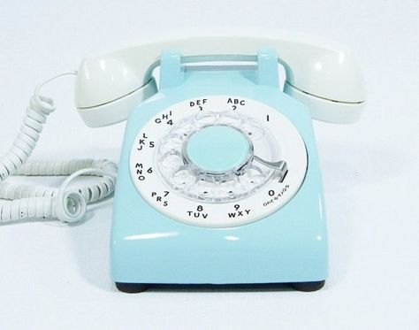Ice Blue Phone Vintage rotary dial telephone by ohiopicker on Etsy