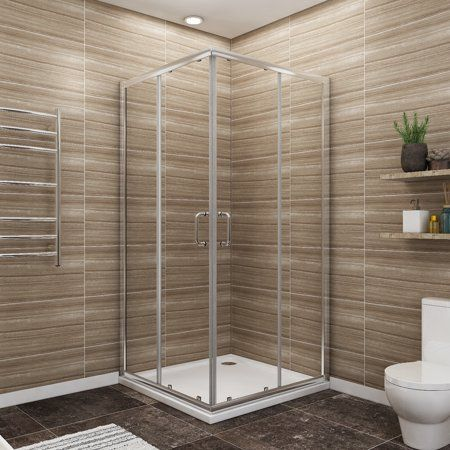 Sunny Shower 36 X 36 X 72 Double Opening Corner Shower Doors 1 4 Clear Glass Shower Enclosure With Magnetic Waterproof Seal Strip Chrome Finish Base Not I Corner Shower Doors Shower Doors