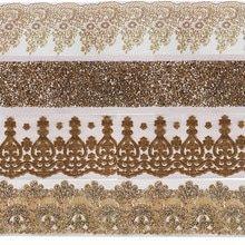 Us 8 49 15 Off 3 ياردة الذهب الترتر التشذيب Paillette ح لي من الأحجار المرصعة للتزيين شريطة من الدانتيل شريط قماش شريط زخرفة الخياطة T2553 Lace Ribbon Fabric Animal Print Rug Printed Rugs Animal Print