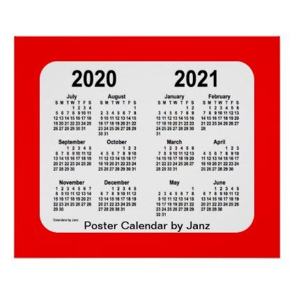 2020 2021 Red School Year Calendar By Janz Poster Zazzle Com Custom Calendar School Year School