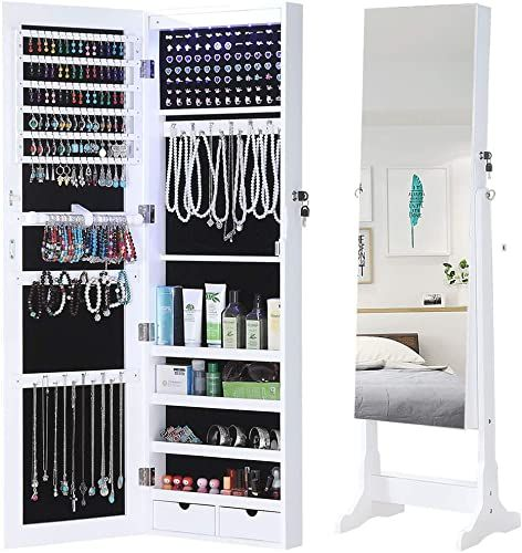 Enjoy Exclusive For Gissar Jewelry Organizer Full Length Mirror Jewelry Cabinet Standing Wall Mounted Jewelry Armoire Storage Lights Lockable White Online Pp In 2020 Wall Mounted Jewelry Armoire Armoire Storage Jewelry Cabinet