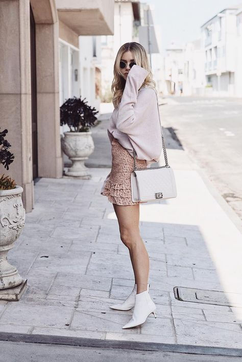 Skirt outfit for October with Alexandre Birman White Ankle