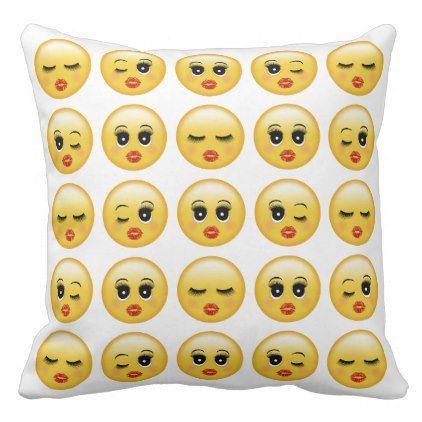 Pretty Emoji Girl Face Red Lips Eye Lashes Throw Pillow Zazzle Com Girl Emoji Emoji Girl Face