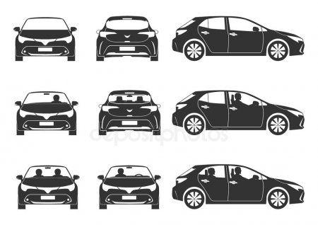 モダンなハッチバックカーシルエット 3つのビューのアイコンのセット フラットベクトル ストックイラストレーション レトロ 車 ロゴ ベクトル