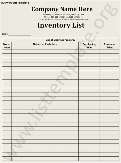 Inventory List Template List Template Resume Template Free
