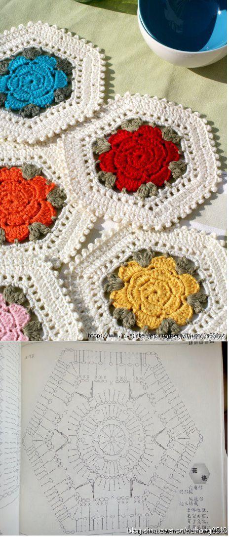 Crcochet Flower Heaxagon - Chart ❥ 4U // hf